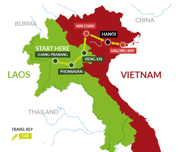 Laos & Vietnam Tour Map