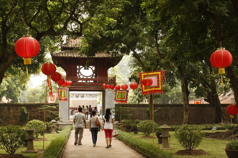 People walking in the Temple of Literature in Hanoi